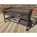 Belaire Resin Wicker Cocktail or Coffee Table  - ANTIQUE BROWN
