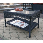 Belaire Resin Wicker Cocktail or Coffee Table  - BLACK