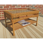 Belaire Resin Wicker Cocktail or Coffee Table  - GOLDEN HONEY