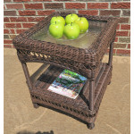 Belaire Resin Wicker End Table  - ANTIQUE BROWN
