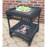 Belaire Resin Wicker End Table  - BLACK