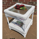 Belaire Resin Wicker End Table  - WHITE