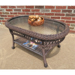 Belaire Resin Wicker Oval Cocktail or  Coffee Table with Glass Top - ANTIQUE BROWN
