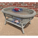 Belaire Resin Wicker Oval Cocktail or  Coffee Table with Glass Top - DRIFTWOOD