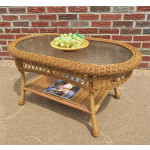 Belaire Resin Wicker Oval Cocktail or  Coffee Table with Glass Top - GOLDEN HONEY