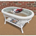 Belaire Resin Wicker Oval Cocktail or  Coffee Table with Glass Top - WHITE