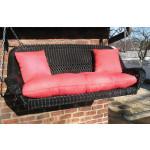 Resin Wicker Porch Swing Loveseat  - BLACK