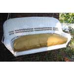 Resin Wicker Porch Swing Loveseat  - WHITE