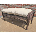 Resin Wicker Bench with Cushion - ANTIQUE BROWN