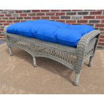 Resin Wicker Bench with Cushion - DRIFTWOOD
