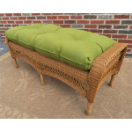 Resin Wicker Bench with Cushion - GOLDEN HONEY