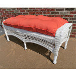 Resin Wicker Bench with Cushion - WHITE