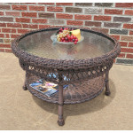 "Belaire Round  Resin Wicker Cocktail or Coffee Table with Glass Top 19.5"" high - ANTIQUE BROWN"