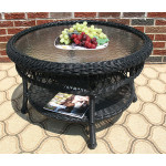 "Belaire Round  Resin Wicker Cocktail or Coffee Table with Glass Top 19.5"" high - BLACK"