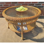 "Belaire Round  Resin Wicker Cocktail or Coffee Table with Glass Top 19.5"" high - GOLDEN HONEY"