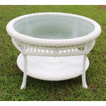 "Belaire Round  Resin Wicker Cocktail or Coffee Table with Glass Top 19.5"" high - WHITE"