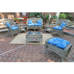 4 Piece Belair Resin Wicker Furniture Set (1) Love Seat  (2) Chairs (1) Coffee Table - DRIFTWOOD