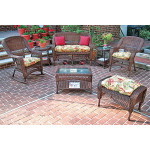 4 Piece Belair Resin Wicker Furniture Set (1) Love Seat (1) Rocker (1) Chair (1) Coffee Table - ANTIQUE BROWN
