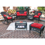 4 Piece Belair Resin Wicker Furniture Set (1) Love Seat (1) Rocker (1) Chair (1) Coffee Table - BLACK