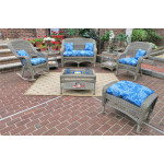 4 Piece Belair Resin Wicker Furniture Set (1) Love Seat (1) Rocker (1) Chair (1) Coffee Table - DRIFTWOOD
