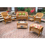 4 Piece Belair Resin Wicker Furniture Set (1) Love Seat (1) Rocker (1) Chair (1) Coffee Table - GOLDEN HONEY