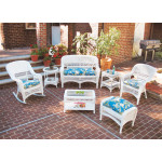 4 Piece Belair Resin Wicker Furniture Set (1) Love Seat (1) Rocker (1) Chair (1) Coffee Table - WHITE