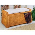 Wicker Blanket Chest or Trunk, Wood Lined - CARAMEL
