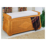 Wicker Trunks, Blanket Chest with Seating (Cushion separate purchase-below) Caramel -