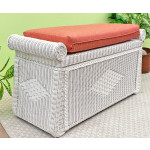Wicker Trunks, Blanket Chest with Seating (Cushion separate purchase-below) White - WHITE