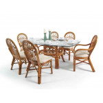 "Antigua Rattan  62"" x 42"" Oval Dining Set - ROYAL OAK"