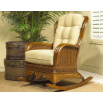 Casa Blanca Natural Rattan High Back Rocking Chair - URBAN MAHOGANY