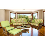 5 Piece Coconut Beach Natural Rattan Sofa Set - MAHOGANY