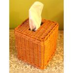 BOUTIQUE WICKER TISSUE BOX COVER - CARAMEL