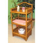 Chelsea 3 Tier Wicker Bathroom Floor Shelf, Tea Wash -