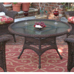 "42"" Round  X 24"" High Resin Wicker Conversation Table with umbrella hole - ANTIQUE BROWN"