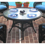 "42"" Round  X 24"" High Resin Wicker Conversation Table with umbrella hole - BLACK"