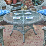 "42"" Round  X 24"" High Resin Wicker Conversation Table with umbrella hole - DRIFTWOOD"