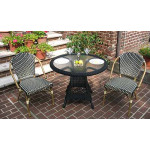 """Resin Wicker Cafe Bistro Dining Set 36""""Round  - BLACK AND IVORY"""
