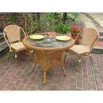"""Resin Wicker Cafe Bistro Dining Set 36""""Round  - GOLDEN HONEY AND IVORY"""