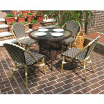 "Resin Wicker Cafe Bistro Dining Set 36"" Round 4 Chairs - ANTIQUE BROWN AND IVORY"