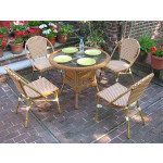 "Resin Wicker Cafe Bistro Dining Set 36"" Round 4 Chairs - GOLDEN HONEY AND IVORY"