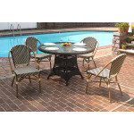 """Resin Wicker Cafe Dining Set 48"""" Round 4 Chairs - ANTIQUE BROWN AND IVORY"""