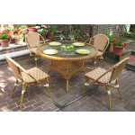 """Resin Wicker Cafe Dining Set 48"""" Round 4 Chairs - GOLDEN HONEY AND IVORY"""