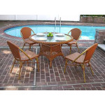 """Resin Wicker Cafe Dining Set 48"""" Round 4 Chairs - GOLDEN HONEY"""