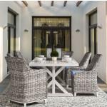7 Piece (6 chairs) Canyon Lake Outdoor Aluminum Slat Top  Dining Set - GRANITE