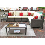6 Piece Resin Wicker Sectional, Caribbean - COFFEE BROWN