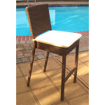 Caribbean Resin Wicker Bar Stools with Cushion $229.95 each (Min 4 SPECIAL) - COFFEE BROWN