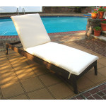 Caribbean Resin Wicker Chaise, Adjustable Back & Cushion - COFFEE BROWN
