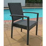 """Caribbean Resin Wicker Dining Set 72"""" Oval 6 Chairs - BLACK"""