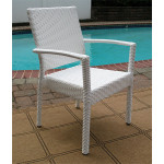 """Caribbean Resin Wicker Dining Set 72"""" Oval 6 Chairs - WHITE"""